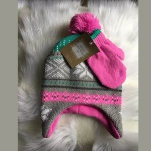 NWT Pink Toddler Pom Pom Fairisle Hat & Mitten